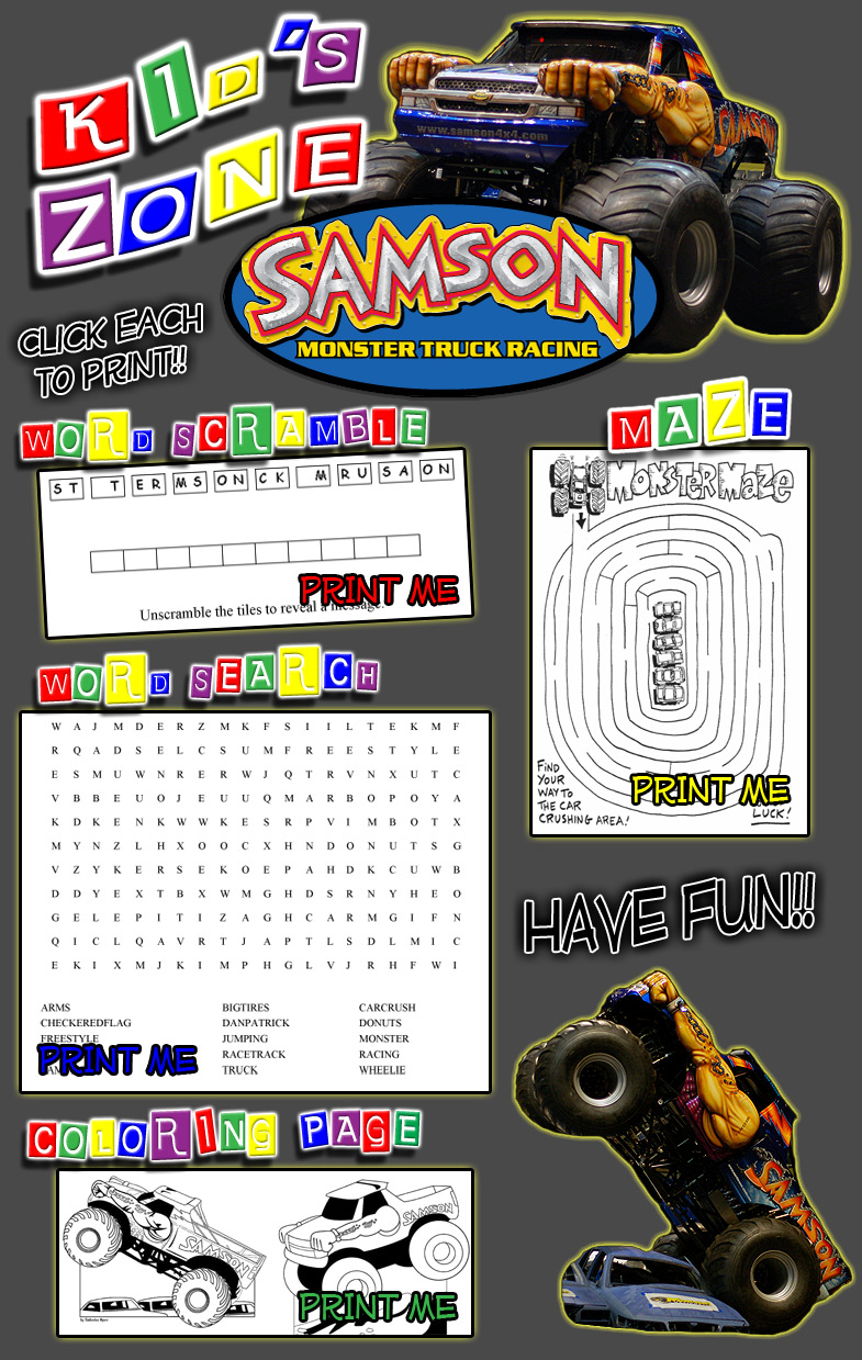 Samson Monster Truck Game Activities For Kids and Children